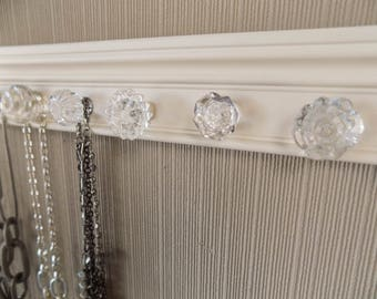 YOU CHOOSE 5,7 or 9 KNOBS on this Jewelry organizer featuring all unique glass knobss on off white. Can add hooks  to this wall storage rack