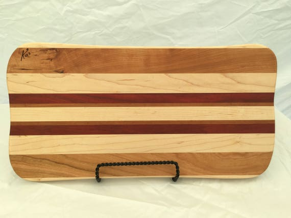 Cutting Board made from cherry, bloodwood and maple woods