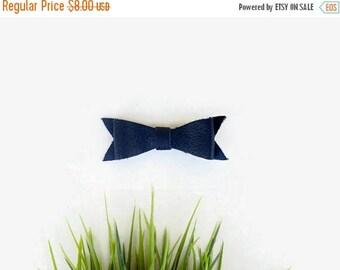 SALE Navy Blue Leather Hair Clip