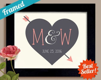 Gay Wedding Gift Heart and Arrow Engagement Gift Cupids Arrow Personalized Wedding Gift Gray and Pink Initial Art Gay Anniversary Gift