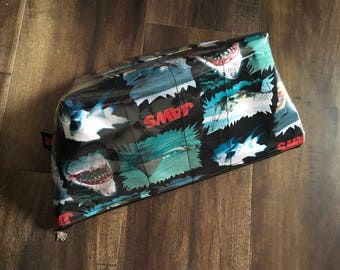 Handmade Jaws Large Makeup Bag