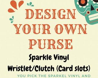 Diamond Tufted Sparkle Vinyl Wristlet/Clutch (Card slots/wallet)
