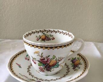 Tea cup, Vintage Tea Cup and Saucer, Spode Tea Cup, Spode Saucer, Spode Rockingham Tea Cup, Spode China, Spode Copeland China, Vintage Spode