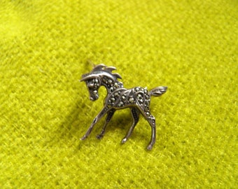 Darling Pony Pin. Brooch. Marcasite Set in Sterling Silver.