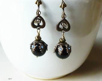 Earrings - Black ball Dangle