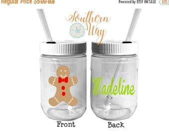 Plastic Mason Jar Cups - Party Favor - Plastic Cups - Birthday Party Favor - Gingerbread Man - Christmas Party Favor - gingerbread
