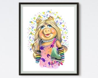 Jam On It - Miss Piggy Art - Muppets Print - 80s Art - Roller Skates - Animal Art - Art Prints - Muppets Portrait - Roller Derby - Painting