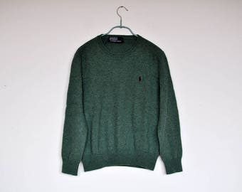 Vintage Sage Green Polo by Ralph Lauren Pony Logo Knit Sweater