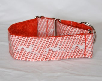 """2"""" Martingale Dog Collar Running Greyhounds on Red & White Diagonal Stripes"""