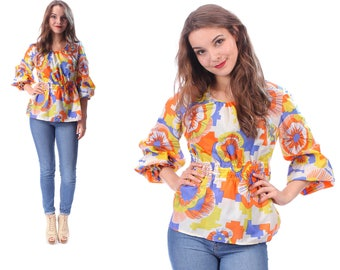Psychedelic Blouse 60s Vintage Hippie Shirt Top Floral Vivid 1960s Festival Balloon Sleeves Multicolor Bohemian White Orange Blue Medium