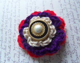 Purple Flower Brooch. Crochet Flower Brooch. Handmade Crochet Flower Brooch.