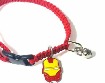 Superhero Pet Collar, Hemp Pet Collar, Cat, Small Dog, Kitten, Charm Pendant, Adjustable, Boho Pet Collar, Black, Red, Ironman