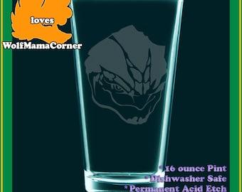 MassEffect fanart Grunt Krogan v2 drinking glass - etched pint