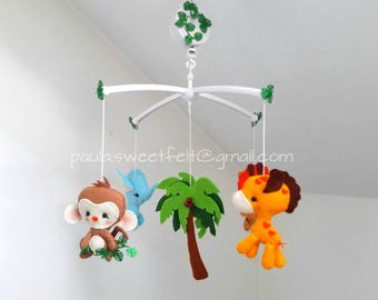 Ready to go - Wild Baby Animals crib musical mobile/ jungle baby animals hanging mobile / safari baby animals baby mobile / felt