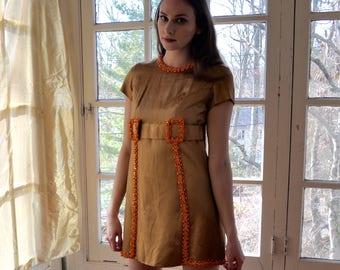 Gold Satin Micro Mini Go Go Dress/Vintage 1960s/Beaded Mod Metallic Luxe Silk Tunic Dress/Size Extra Small