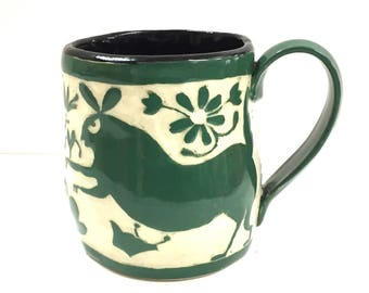 In STOCK Ready to Ship! - OTOMI-Style SgraffitoCarved Mug - BUNNIES Rabbits - Mexican Inspired Folk Art - Ceramic Carved Design