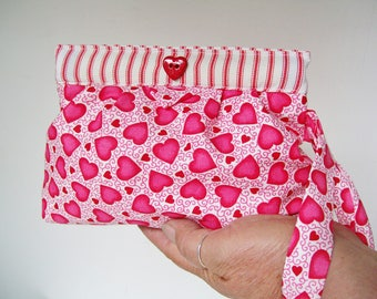 Just Because SNAP BAG WRISTLET Wallet Cell Phone Pouch Wrist Strap Hot Pink Hearts Mini Bag Cosmetic Camera