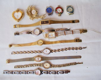 13 pc WATCH LOT Womens Bracelet Pendant Brooch Mechanical Battery Repair Destash Craft Upcycle Timex Seiko Citizen .3