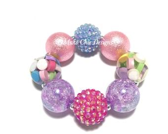 Toddler or Girls Valentine's Day Chunky Bracelet - Pink, Purple, Blue chunky bracelet - Candy Heart bracelet - Pastel Rainbow Bracelet