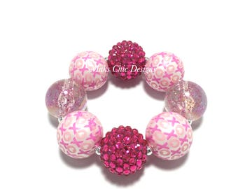 Toddler or Girls Pink Valentine's Day Chunky Bracelet - XO chunky bracelet - Girls Love bracelet - Hot Pink and Light Pink Chunky bracelet