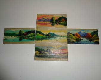 5 Vintage Miniature Hand Painted Asian Style Landscape Scenes painted on heavy paper in Very Good Condition with great Asian Folk Art Style