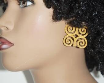 Dwennimmen Stud Wood Earrings - Gold  Andinkra Symbol Afrocentric Jewelry