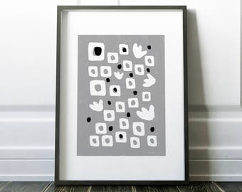 Black White Gray - Tiny Tulips and Dots with Squares | Instant Download Printable Art, Digital Download, Abstract Art, Wall Art