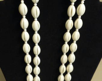 Summery vintage Trifari white shell bead double strand necklace