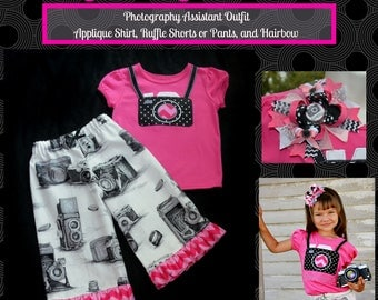 Camera Photographer Assistant  Outfit, Shirt, Ruffle Pants or Ruffle Shorts, Matching Hair bow is available, Personalize it, 12mo - 5T