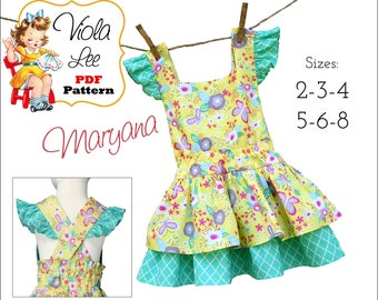 Girls Dresses pdf Pattern, Toddler Dress Pattern. Girls Dress Sewing Patterns pdf. Girls Summer Dress, pdf Sewing Pattern for Girls. Maryana