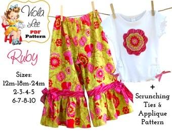 Toddler Pants Pattern, Girl's Ruffled Pants Pattern, Girls Pants, pdf, Toddler Ruffle Pants. Scrunch Ties pattern. pdf Sewing pattern. Ruby