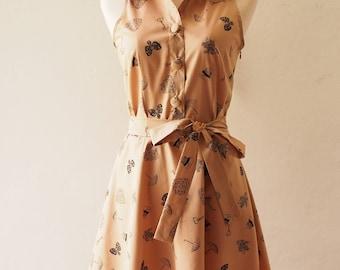 Beige Sundress Vintage Inspired Dress Shirt Dress Summer Dress Sundress Short Casual Anniversary Birthday Dress Retro Pin Up Party Dress