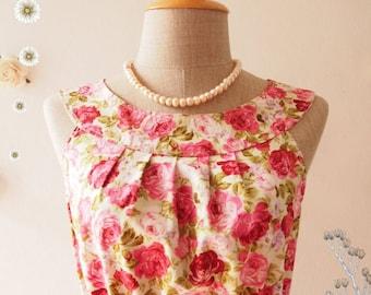 Mid Year SALE SALE Size M- Floral Dress Tea Party Dress Floral Sundress Floral Prom Dress Party Dress Floral Bridesmaid Dress