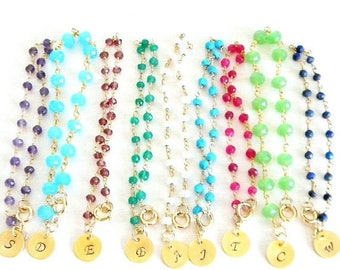 SALE Intial Gemstone Rosary Bracelet, Ruby, Amethyst, Garnet, Aqua Chaledony, Lapis, Freshwater Pearl, Green Onyx, Turquoise, Green Chaledon