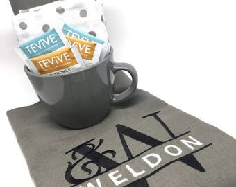 Custom Tea Towel - monogram, tea lovers, grey, gray, personalized, gifts, hostess, bridesmaid, housewarming, tea party, kitchen, flour sack