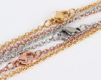 "3 PCS (1 in EACH COLOR)- 304 Stainless Steel Cable Chain Necklace with Lobster Claw Clasp -  17.7""(45cm) long"