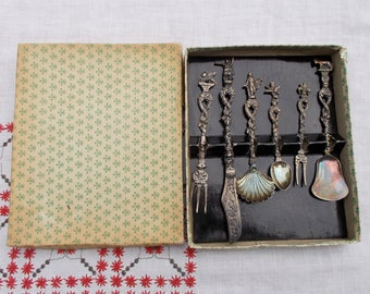 Set of Six Pewter or Brass Silver plate  DEMITASSE Spoons  Forks and Knife from Italy in Original Box Awesome Detail