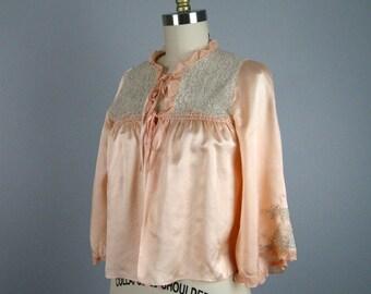 Vintage 1930s Peach Silk Bed Jacket 30s Lace Lingerie Size S/XS