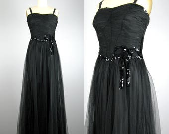 Vintage 1930s 1940s Tulle Dress 30s 40s Back Tulle Evening Gown with Sequin Bow Embellishment Size XS