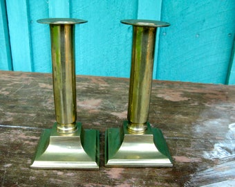 Classy Pair of Brass Push-Up Candlesticks