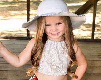 NEW! Idyllwilde Collection, Lace Halter Crop Top, Girls Crop Top, Lace Top, Baby Halter Top, Boho Baby Top, Coachella Top, Toddler Fashion