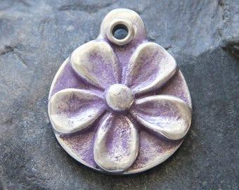 Purple Flower - Pet ID Tags - Pet Tags - Dog ID Tag - Pet Name Tags - Personalized Dog Tags - Handmade Pet Tag
