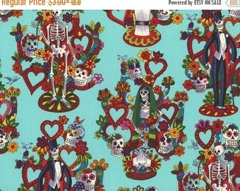 ON SALE Folklore Fabric, La Vida by Alexander Henry, Turquoise Folklorico Fabric, Mexican Fabric, Day of the Dead Fabric, 01058A