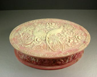 Dark Pink and White Incolay Stone Birds of Paradise Jewelry Trinket Box / LARGE