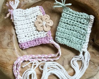 ready to ship newborn pixie bonnet pair hand crochet lovely photography prop
