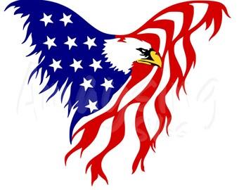 SVG - Eagle Flag - Patriotic - 4th of July svg - Memorial Day svg - Military svg- Red White Blue - American Flag - Eagle svg - Tshirt svg