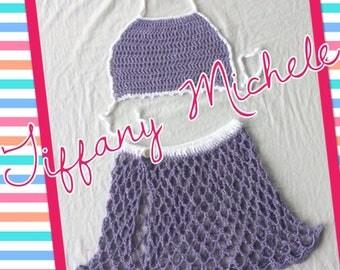Handmade Glitter Grape Purple Kids Beach Outfit Top & Skirt 7/8 kids