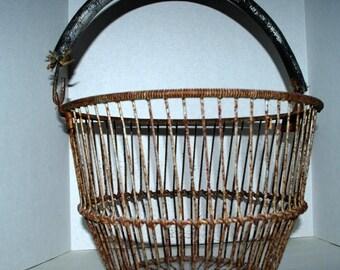weekend sale Cape Cod shellfish gathering basket  vintage clam basket  metal basket