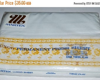 weekend sale Martex twin sheet white  with yellow embroidered trim old new stock