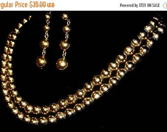 Gold Bead Necklace Earring Set Signed Monet Doubled Strand Pierced Ears Vintage 1970s
